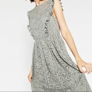Zara Grey Lace Dress Size Medium